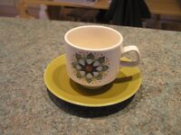Langley Sherwood Inspired Hand-painted Cups and Saucers