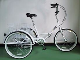 """Adults tricycle, folding frame, 24"""" wheels, 6-speed shimano gears, from BuyTricycle, SCOUT"""