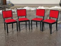 Set of Four Chairs with spring by Jindrich Halabala, 1940's