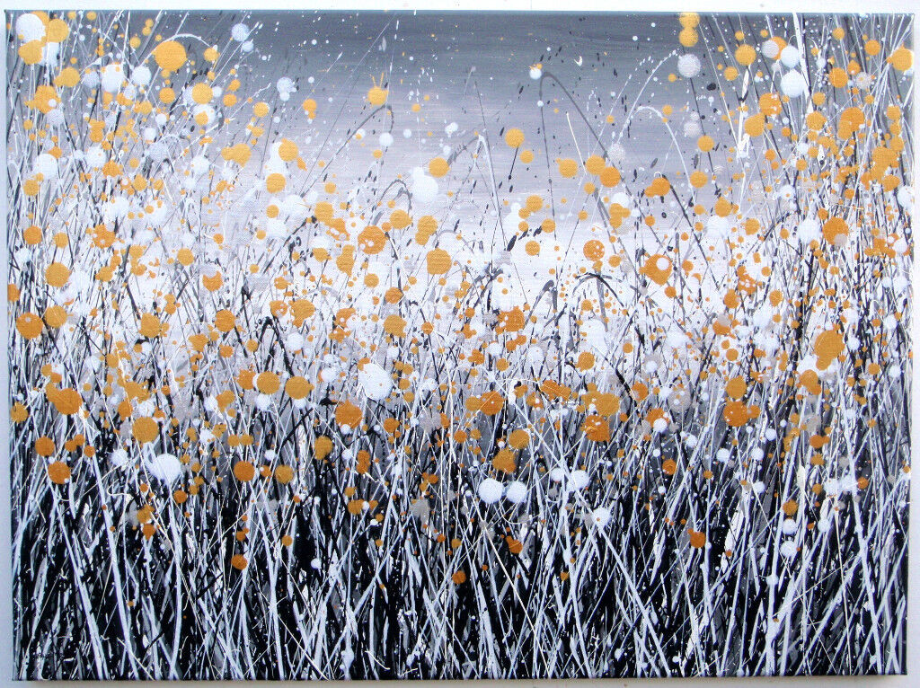 Large Modern Art New Black Gold Silver Abstract Landscape Flower Painting On Canvas Free Delivery