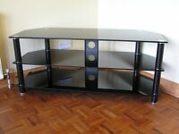 Large Black Glass 3 Tier TV and Entertainment Unit / Stand