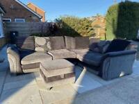 Grey corner sofa and foot stool