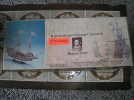 wooden model of the golden hind still in it box (never been out of box)