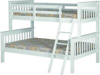 NEW white wooden triple bunk beds 3ft single & a 4ft double available today