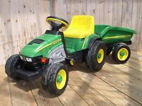 Kid's John Deere Farm Tractor with Trailer