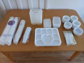 BRAND NEW JOBLOT PARTY DISPOSABLE PLASTIC TAKEWAY CONTAINERS PLATES BOWLS THERMO CUPS SPOONS