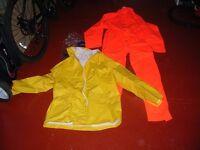One piece Eski waterproof suit plus hooded waterproof coat. Size XL