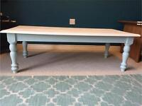 Duck Egg & Antique White painted wood coffee table