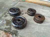 Steel weight plates. 1 inch hole. 8kg total. 4 x 1.25 6 x 0.5kg