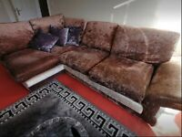 Corner sofa in crushed velvet