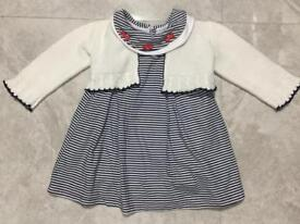 804b51703 Baby Girl Dress with Knitted Cardigan Nautical 6-9 Months