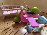 Our Generation Chair and Scooter with wooden cot