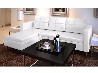 White Leather Sectional Sofa 3 Seater L Shaped Modern Living Room Furniture