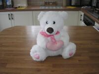 Lovely soft white teddy. As new from smoke & pet free home £7