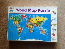 EARLY LEARNING CENTRE 100 PIECE WORLD MAP JIGSAW PUZZLE. COMPLETE AND VGC.