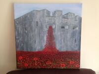 Painting of poppies , Tower of London.