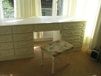 Large Dressing table with 2 Matching Bedside Cabinets and Stool
