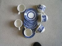 Churchill blue china set of 6 saucers and cups, mint condition