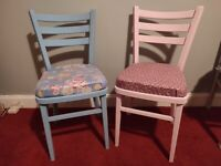 Upcycled chairs in designer vintage fabric - unique opportunity