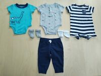 6 Piece Bundle Carter's Matching Dinosaur Print Baby Boy Clothes Set 3-6 Months