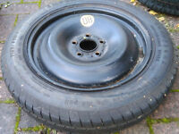 Space saver spare wheel with tyre: T125/85R16 5 stud Ford or Volvo Convenience spacesaver Mondeo