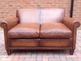 Laura Ashley Distressed Tan Brown Leather Burlington Sofa Rrp 2000