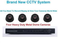 4 Camera 4 Channel CCTV System 4 1000TVL Heavy Duty Dome Cameras 4 ch H264DVR + A 500gb Hard Drive