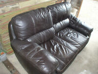Two seat leather sofa, settee, armchair