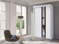 New White Wardrobe with Mirror B120 cm -FREE DELIVERY