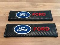 2X Seat Belt Pads Carbon Gift Ford Kuga Mondeo Fiesta Focus ST RS Max