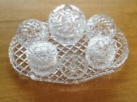 Cut glass dressing table set, six lovely pieces on matching glass tray