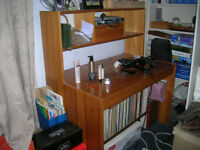 solid pine desk/storage unit with chair
