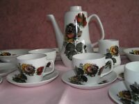 Royal Tudor Ware Dusky Rose 6 place Dinner/Tea Service with tea/coffee pot