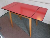 60s drop leaf dining table, red formica.