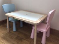 IKEA Flisat kids table with storage containers and 2 x Mammut chairs