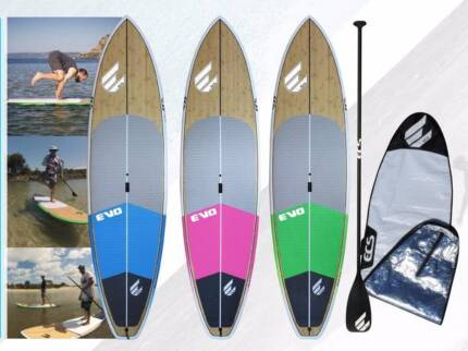 ECS EVO Bamboo SUP Package (Board, Bag, Carbon Paddle, leggie)