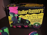 Child's Inline skates with adjustable sizes from Size 3 to 8. Suit 8 years and over