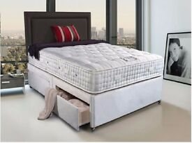 BRAND NEW 2000 POCKET SPRUNG MATTRESS WITH HARD TOP DOUBLE DIVAN BED BASE ,,FREE DELIVERY IN LONDON