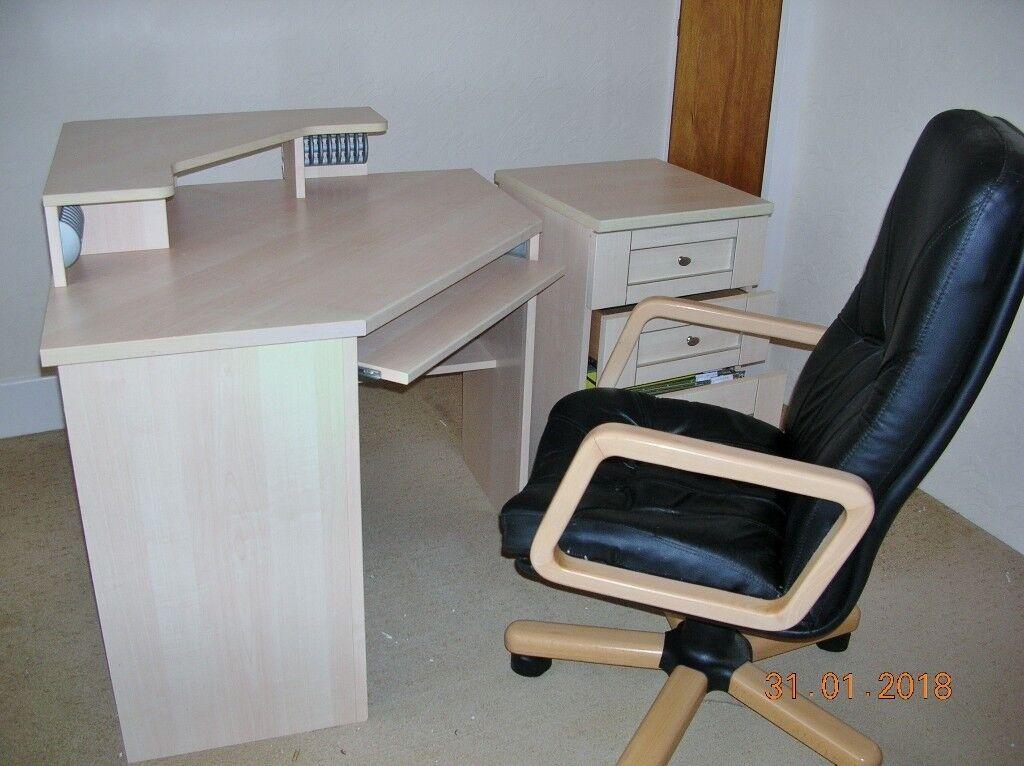 Office Computer Desk Chair 3 Draw Cabinet 1 Filing 2 Door Cupboard