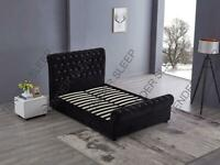 furniutre in stores-King Size Plush Velvet Ottoman Storage Sleigh Bed Frame in different Colors