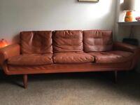 Original retro leather sofa danish