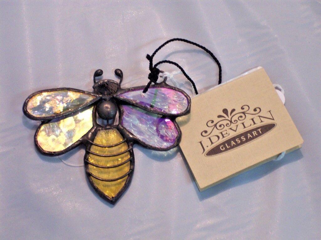 "*NEW* J Devlin GLASS ART ""BEE"" Ornament/Window Suncatcher/Fast-Free-Shipping"