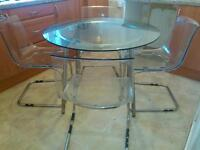Ikea, Salli, glass dining table and 4 chairs