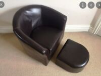 Dunelm Leather Kids Tub Chair and Footstool Brown