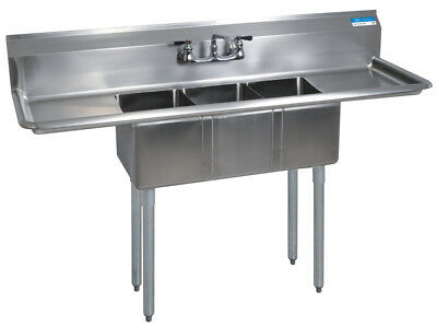 Bk Resources Bks-3-1014-10-15t Commercial Stainless Steel 3-compartment Sink 2db