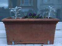 3 terracotta rectangle planters / window boxes