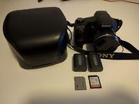 Sony Cyber-shot DSC-HX200v + 2 Sony batteries + 2 SD cards + Sony case + Sony charger
