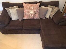 Chocolate brown fabric L-shaped (reversible) sofa