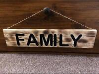 Large handmade solid wooden Family sign