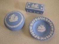 Wedgwood Blue Jasper ware Trinket boxes and Tray